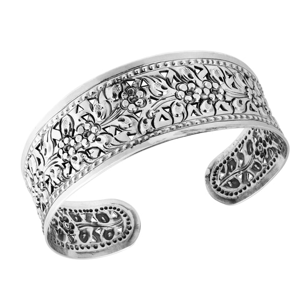 Blossom Daisy Vine Floral Hill Tribe Solid Silver Cuff (Thailand)