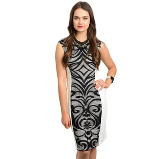 Shop the Trends Women's Cap Sleeve Missy Dress with Contrast Colored Lace Panel