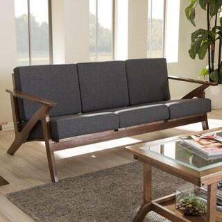 Baxton Studio Cymone Mid-century Modern Walnut Wood Grey Fabric Living Room 3-seater Sofa