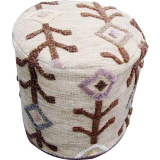 M.A.Trading Hand-woven Khema7 Beige Rug (20-inch x 18-inch x 18-inch)