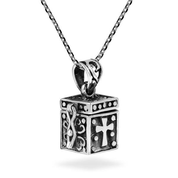 Handmade Christian Prayer Box Locket .925 Sterling Silver Necklace (Thailand) 17982643