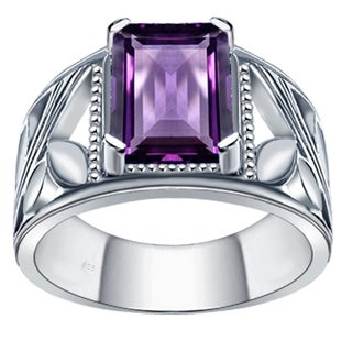 Orchid Jewelry 2 1/5ct Emearld-cut Natural Amethyst Ring