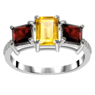 Orchid Jewelry 925 Sterling Silver 2 1/3ct Citrine and Garnet Gemstones 3-stone Ring