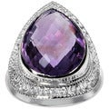 Orchid Jewelry's Sterling Silver 7 1/6ct Genuine Amethyst Ring