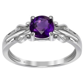 Orchid Jewelry's Sterling Silver 5/8ct Genuine Amethyst Ring (Size 7)