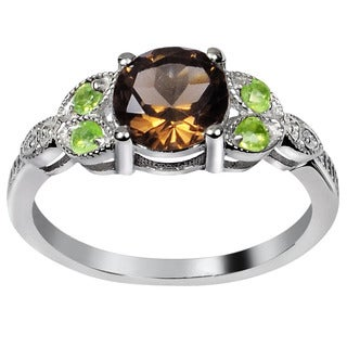 Orchid Jewelry's Sterling Silver 1 2/5ct Genuine Smoky Quartz and Peridot Ring (Size 7)