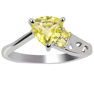 Orchid Jewelry's Sterling Silver 1 1/5ct Genuine Lemon Quartz Ring (Size 7)