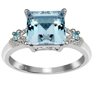 Orchid Jewelry's Sterling Silver 3 1/4ct Genuine Blue Topaz Ring (Size 7)