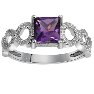 Orchid Jewelry's Sterling Silver 1 1/10ct Genuine Amethyst Ring (Size 7)