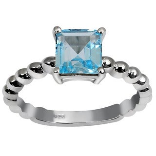 Orchid Jewelry's Sterling Silver 1 1/3ct Genuine Blue Topaz Ring (Size 7)