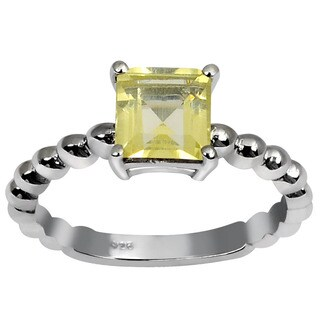 Orchid Jewelry's Sterling Silver 1ct Genuine Lemon Quartz Ring (Size 7)
