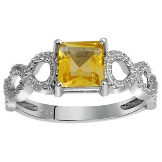 Orchid Jewelry's Sterling Silver 1 1/10ct Genuine Citrine Ring (Size 7)
