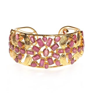 One of a Kind Fusion Leaves Ruby Gold Vermeil Floral Cuff (Thailand)