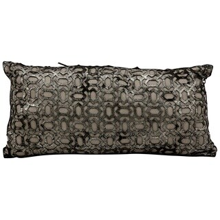 Mina Victory Couture Natural Hide Bias Laser Cut Black/Platinum Throw Pillow (10-inch x 20-inch) by Nourison