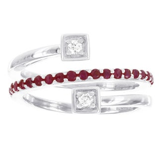 H Star Sterling Silver Created Ruby and 1/10ct Diamond Swirl Ring (I-J, I2-I3)