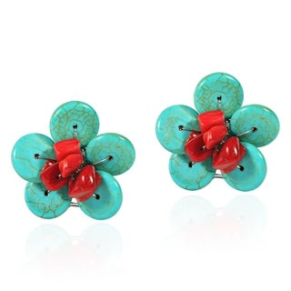 Chic Red Coral and Turquoise Daisy Floral Clip On Earrings (Thailand)