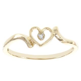 H Star 10k Yellow Gold Open Heart Diamond Accent Promise Ring ( I-J, I2-I3)