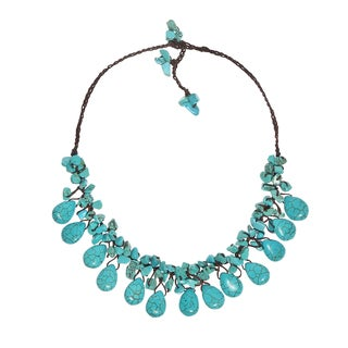 Enchanting Teardrop Turquoise Cluster Wax Rope Necklace (Thailand)