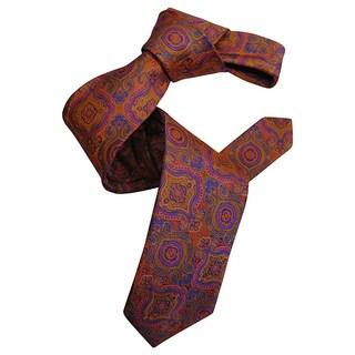 Dmitry Men's Orange Italian Patterned Silk Tie