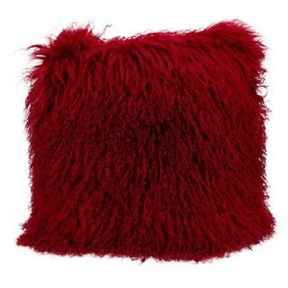 """Mina Victory by Nourison Couture Fur Red Throw Pillow (20"""" x 20"""")"""