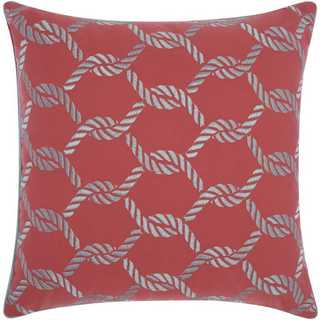 Mina Victory Indoor/Outdoor Woven Ropes Coral/Aqua Throw Pillow (20-inch x 20-inch) by Nourison