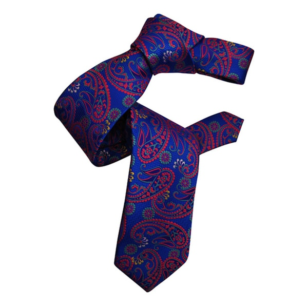 Dmitry Men's Blue Italian Paisley Patterned Silk Tie