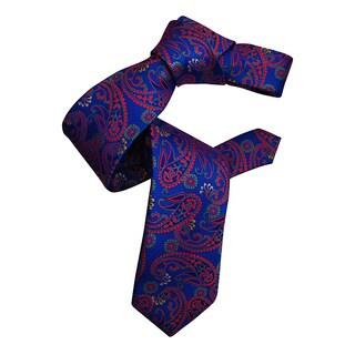 Dmitry Men's Blue Italian Paisley Patterned Silk Tie