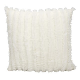 """Mina Victory by Nourison Couture Fur White Throw Pillow (20"""" x 20"""")"""