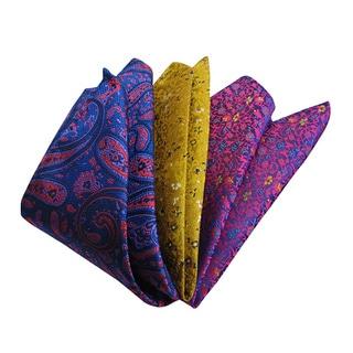 Dmitry Men's Italian Silk Blue/ Gold/ Purple Pocket Squares (Pack of 3)