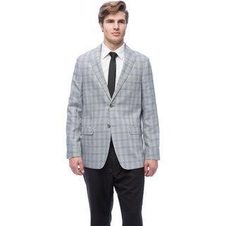 Via Toro Men's Natural Grey Houndstooth Comfort Sportcoat