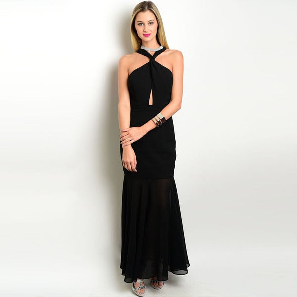 Shop the Trends Women's Sleeveless Woven Gown with Twisted Halter Neckline and Exposed Back