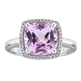 Anika and August 14k White Gold Cushion-cut Brazilian Kunzite and Diamond Ring