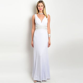 Shop the Trends Women's Sleeveless Gown with Sweetheart Neckline and A Embellished Waistline