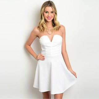 Shop the Trends Women's Strapless A-Line Dress with Sweetheart Neckline
