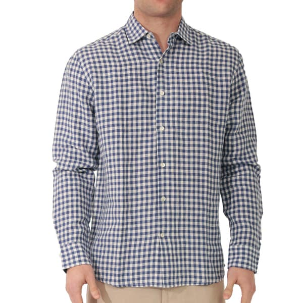 Long Sleeve Gingham Linen Shirt