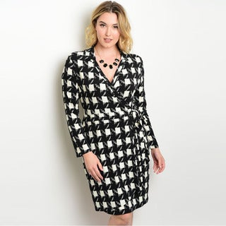 Shop the Trends Women's Plus Size Long Sleeve Wrap Dress with Allover Abstract Print and V-Neckline
