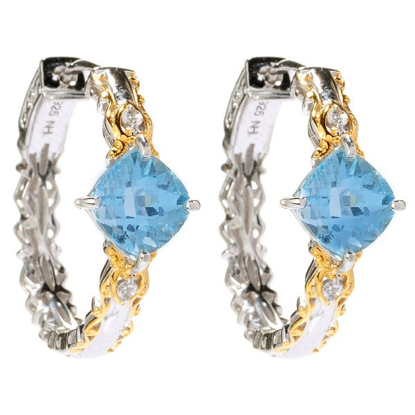 Michael Valitutti Sky Blue Topaz and White Topaz Earrings