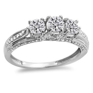 10k Gold 1ct TDW Diamond Vintage Bridal 3-stone Engagement Ring (H-I, I1-I2)