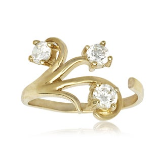 14k Yellow Gold Bold Floral Cubic Zirconia Adjustable Toe Ring