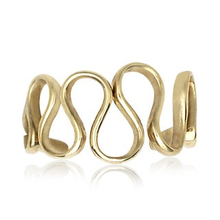 14k Yellow Gold Modern Wave Adjustable Toe Ring