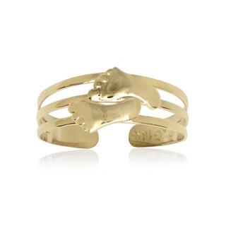 14k Yellow Gold Footprint Adjustable Toe Ring