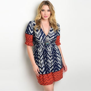 Shop the Trends Women's Plus Size 3/4 Sleeve Dress with Mixed Print and Gathered Waist