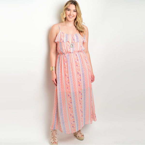 Shop the Trends Women's Plus Size Spaghetti Strap Maxi Dress with Elastic Waist (As Is Item)