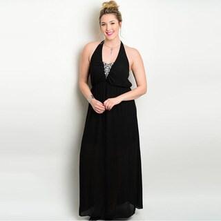 Shop the Trends Women's Plus Size Sleeveless Maxi Dress with Halter Embellished Neckline