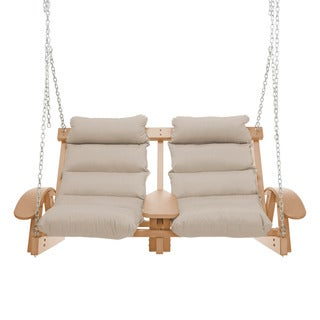 Coastal Cushion Cedar Outdoor Two Person Swing