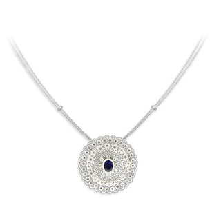 14k White Gold 1 1/4ct TDW Diamond and Blue Sapphire Pendant (I-J, SI1-SI2)