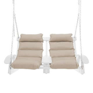Coastal Cushion and White Finish Two Person Outdoor Swing