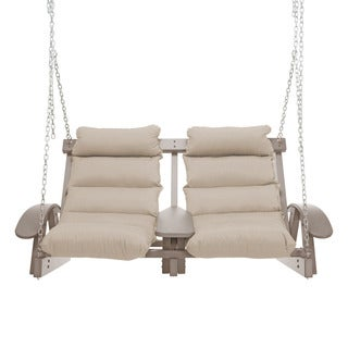Coastal Cushion and Weathered Finish Two Person Outdoor Swing
