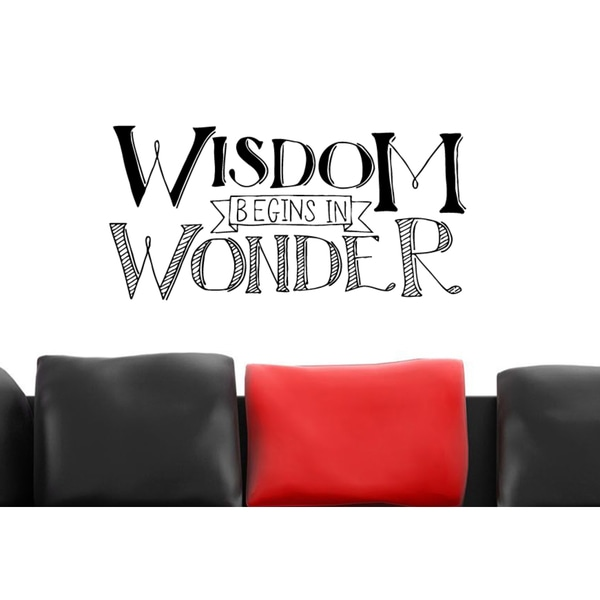 Just words Wisdom Begins in Wonder Wall Art Sticker Decal