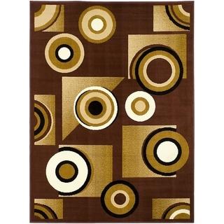 LYKE Home Bullseye Dark Brown Polypropylene Area Rug ( 8' x 10')